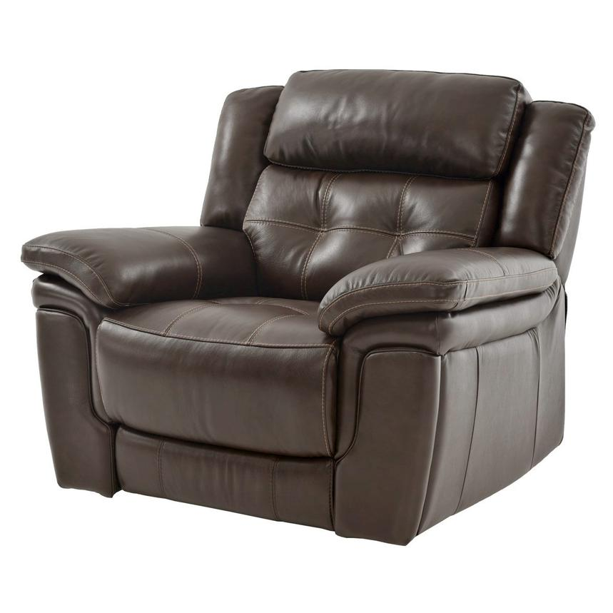 Stallion Brown Power Motion Leather Recliner  main image, 1 of 8 images.
