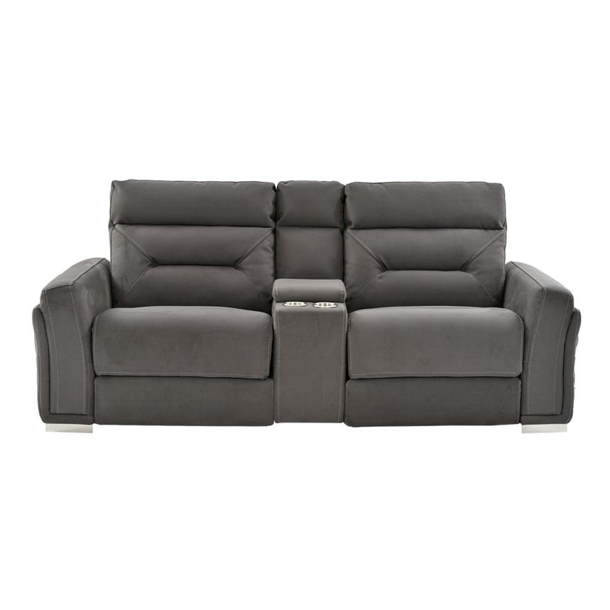 Kim Gray Power Reclining Sofa w/Console  alternate image, 5 of 13 images.
