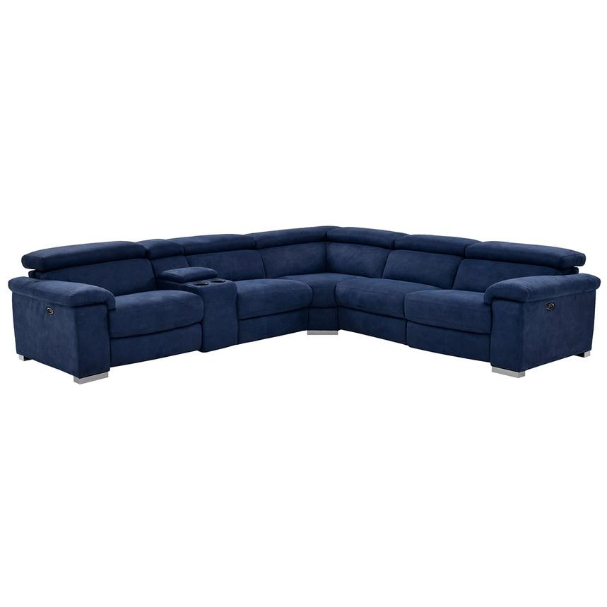 Kathan Blue Power Motion Sofa w/Right & Left Recliners  main image, 1 of 12 images.