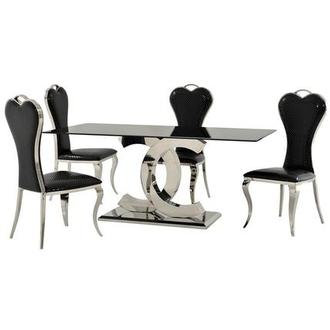 Otti Black 5-Piece Formal Dining Set