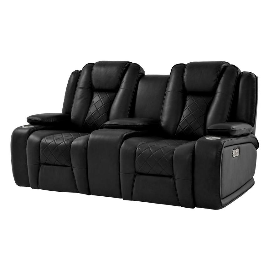 Chanel Black Power Motion Sofa w/Console  main image, 1 of 12 images.