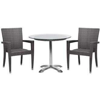 Gerald/Neilina Gray 3-Piece Patio Set w/10mm Glass Top