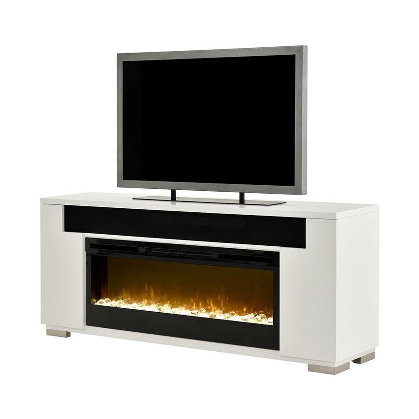 Mile White Faux Fireplace W Speakers El Dorado Furniture