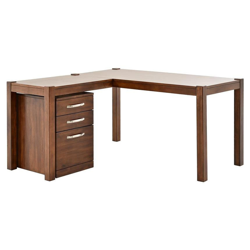 Kayu L-Shaped Desk w/File Cabinet  main image, 1 of 13 images.