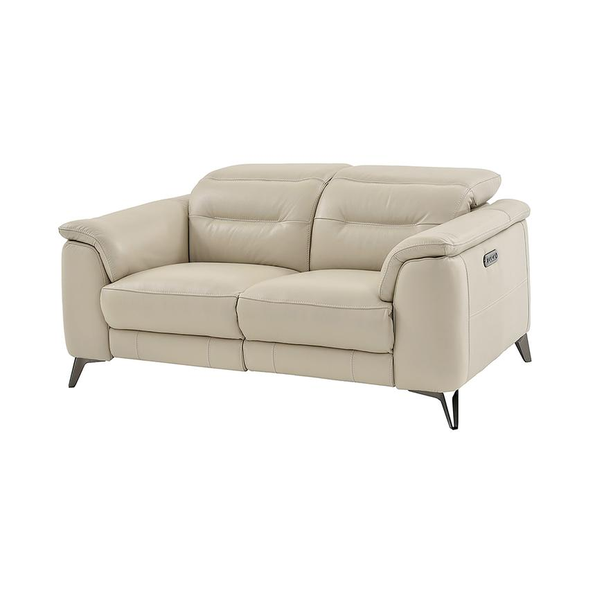 Anabel Cream Leather Power Reclining Loveseat  main image, 1 of 15 images.