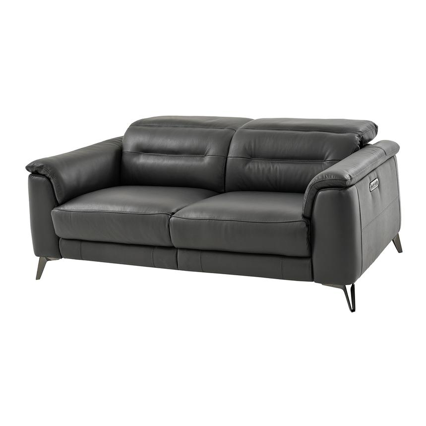 Anabel Gray Power Motion Leather Loveseat  main image, 1 of 9 images.