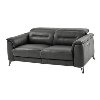 Anabel Gray Leather Power Reclining Loveseat