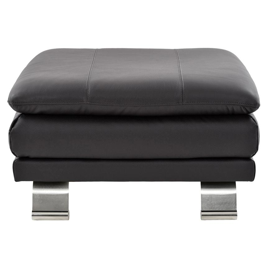Rio Dark Gray Leather Ottoman Made in Brazil  main image, 1 of 5 images.