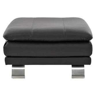 Rio Dark Gray Leather Ottoman Made in Brazil