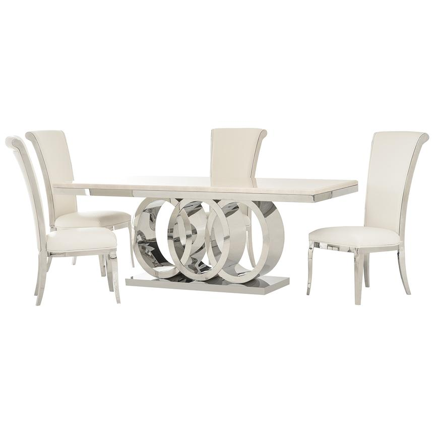 Lillian/Joy White 5-Piece Formal Dining Set  main image, 1 of 11 images.