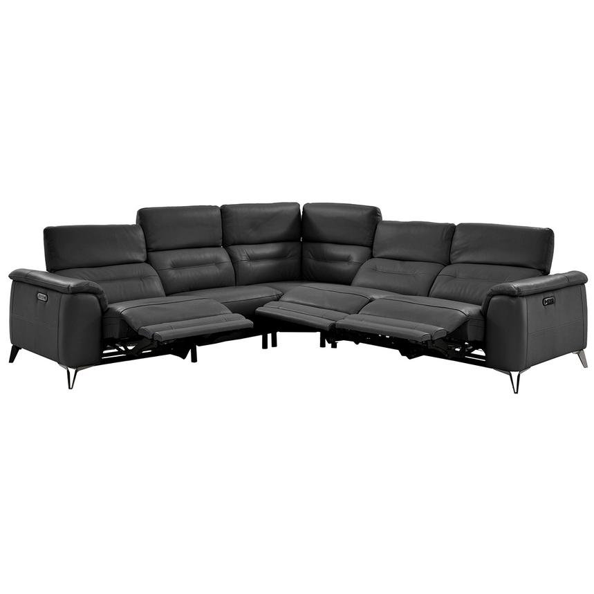Anabel Gray Leather Power Reclining Sectional  alternate image, 4 of 15 images.