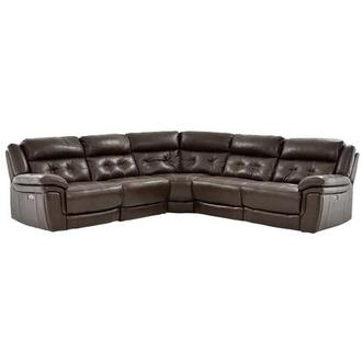 Stallion Brown Leather Power Reclining Sectional