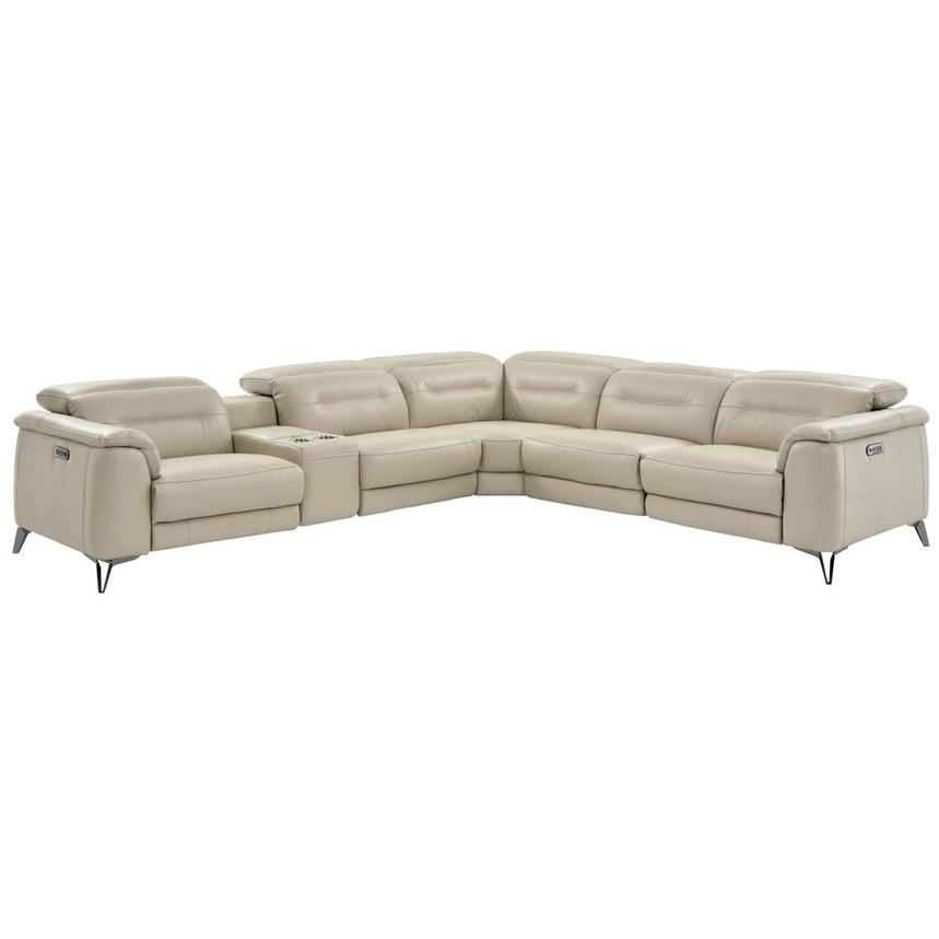 Anabel Cream Power Motion Leather Sofa w/Right & Left Recliners  main image, 1 of 13 images.