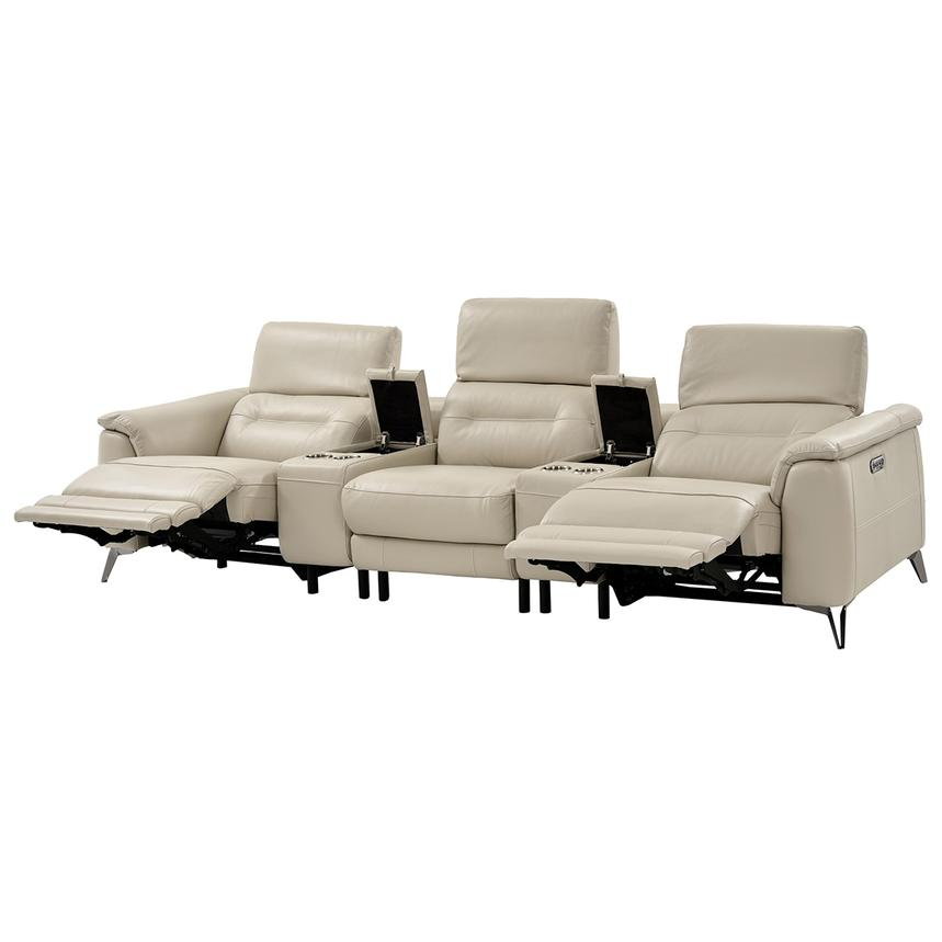 Anabel Cream Home Theater Leather Seating  alternate image, 7 of 16 images.