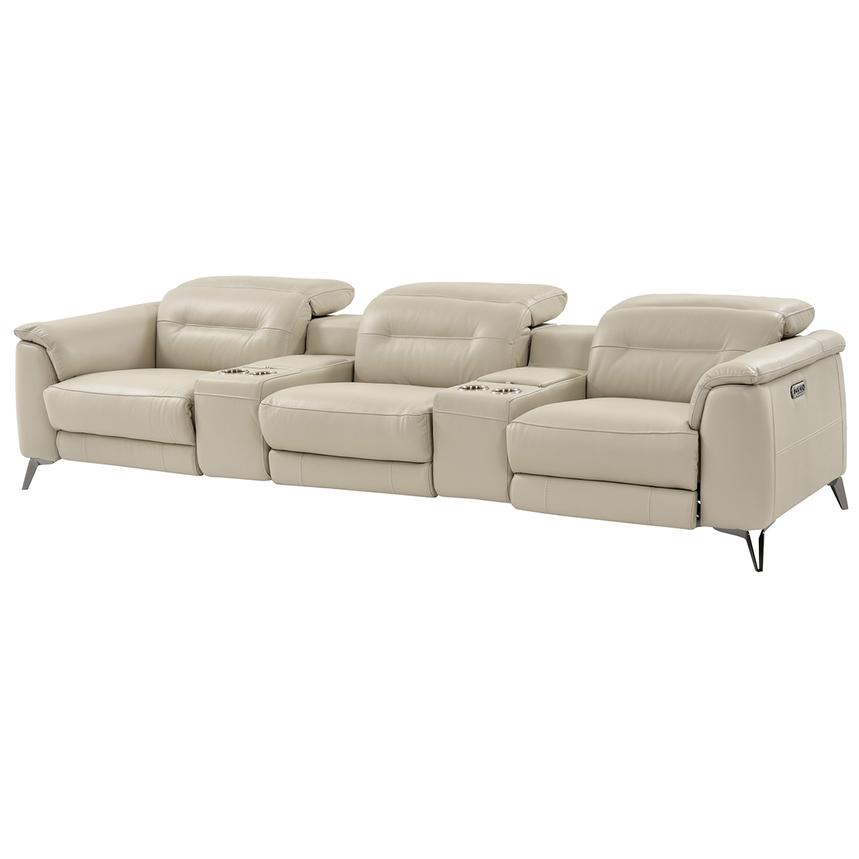 Anabel Cream Home Theater Leather Seating  main image, 1 of 13 images.