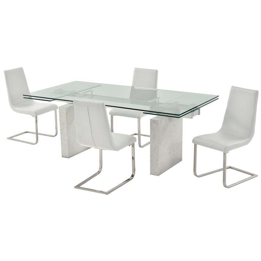 Industria/Lea White 5-Piece Formal Dining Set  main image, 1 of 14 images.