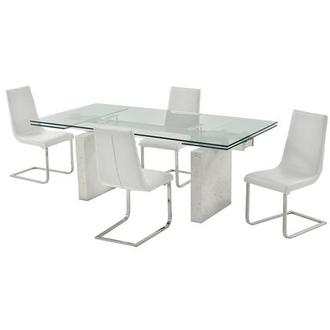Industria/Lea White 5-Piece Dining Set