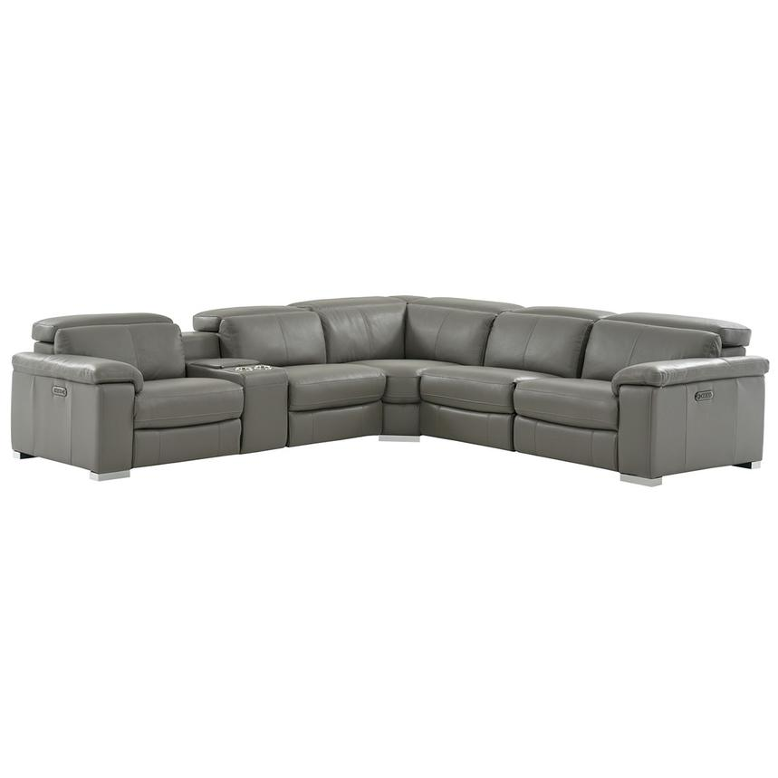 Charlie Gray Power Motion Leather Sofa w/Right & Left Recliners  main image, 1 of 10 images.