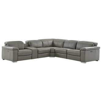 Charlie Gray Power Motion Leather Sofa w/Right & Left Recliners