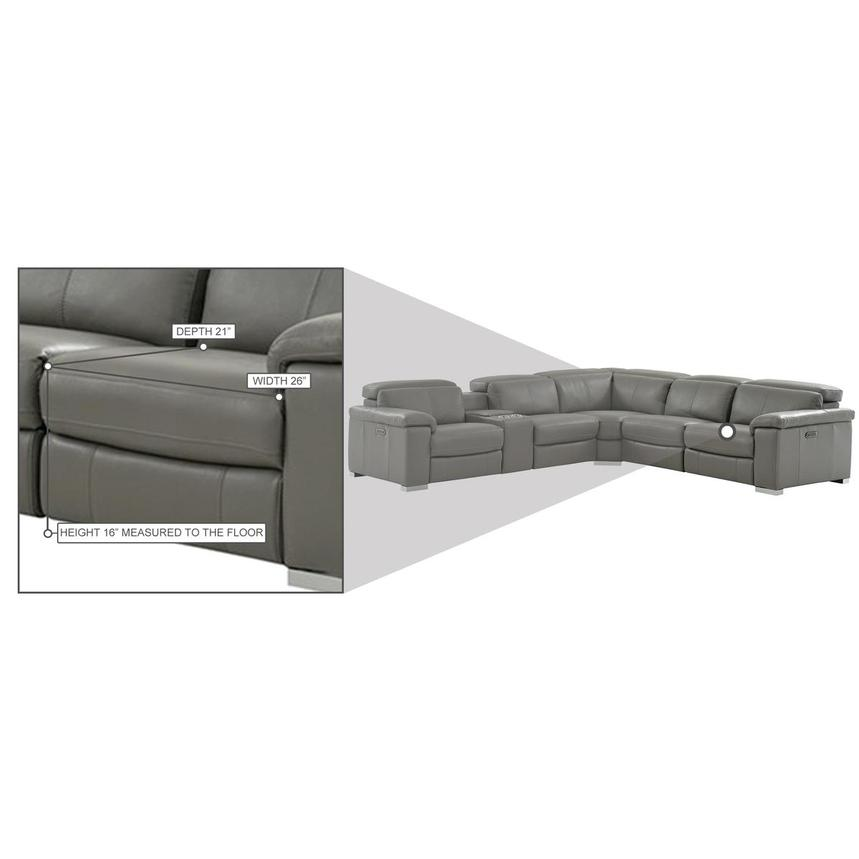 Charlie Gray Leather Power Reclining Sectional  alternate image, 12 of 13 images.