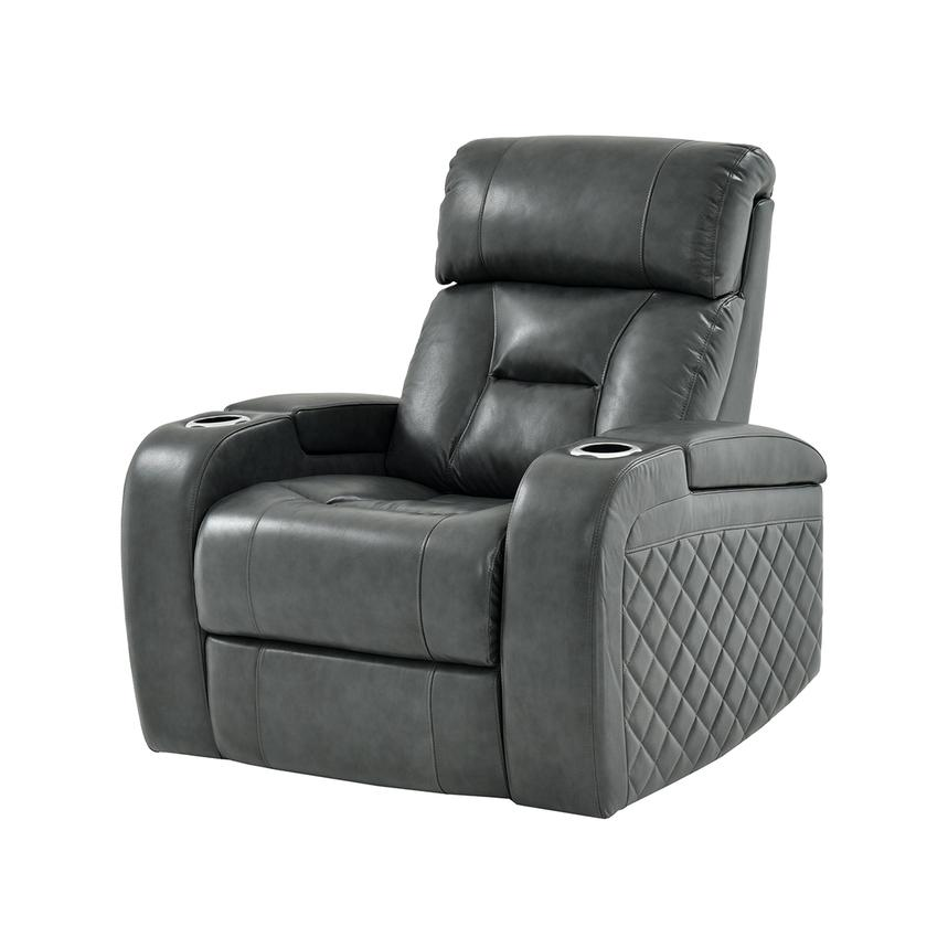 Gio Gray Leather Power Recliner  main image, 1 of 14 images.