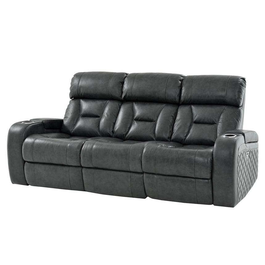 Gio Gray Leather Power Reclining Sofa  alternate image, 3 of 16 images.