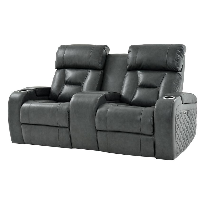 Gio Gray Leather Power Reclining Sofa w/Console  main image, 1 of 15 images.