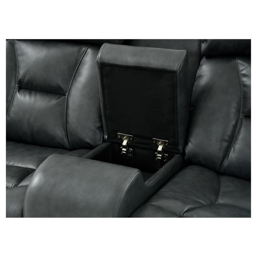Gio Gray Leather Power Reclining Sofa w/Console  alternate image, 6 of 15 images.