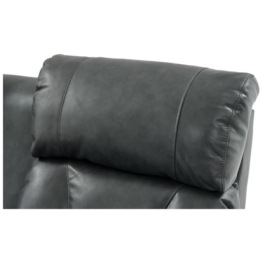 Gio Gray Power Motion Leather Sofa w/Console  alternate image, 10 of 12 images.
