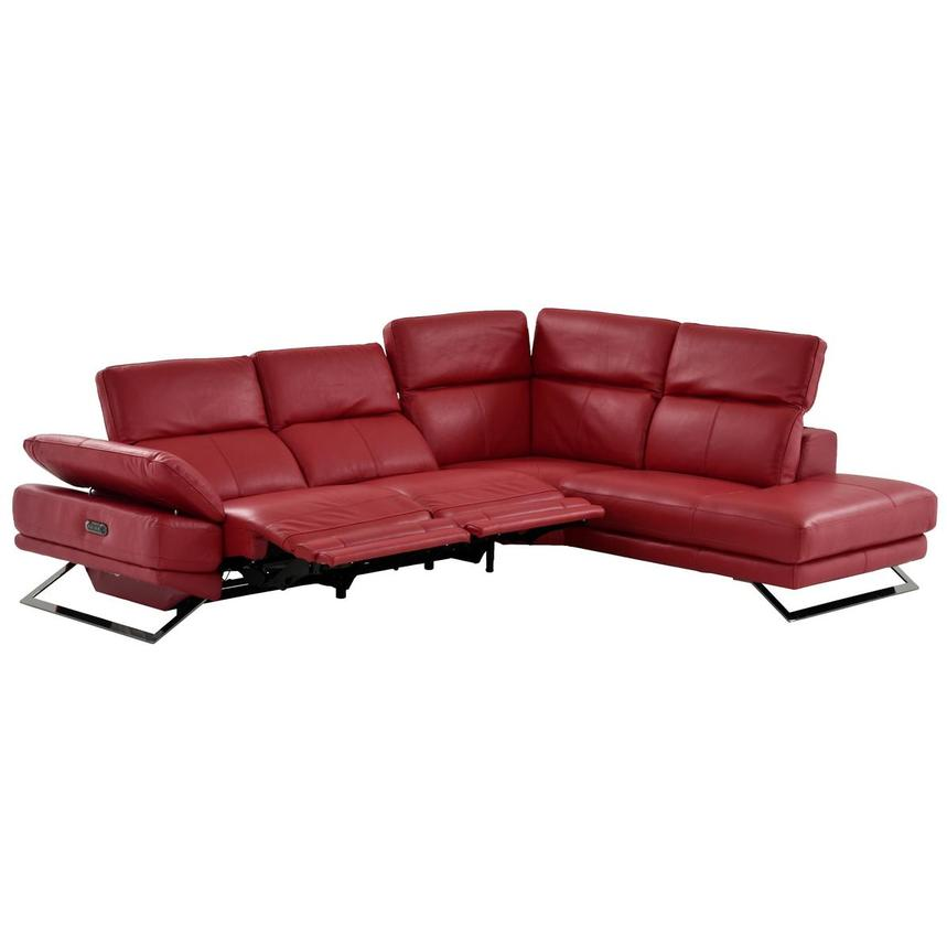 Toronto Red Leather Power Reclining Sofa w/Right Chaise ...