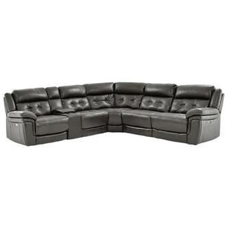 Stallion Gray Leather Power Reclining Sectional