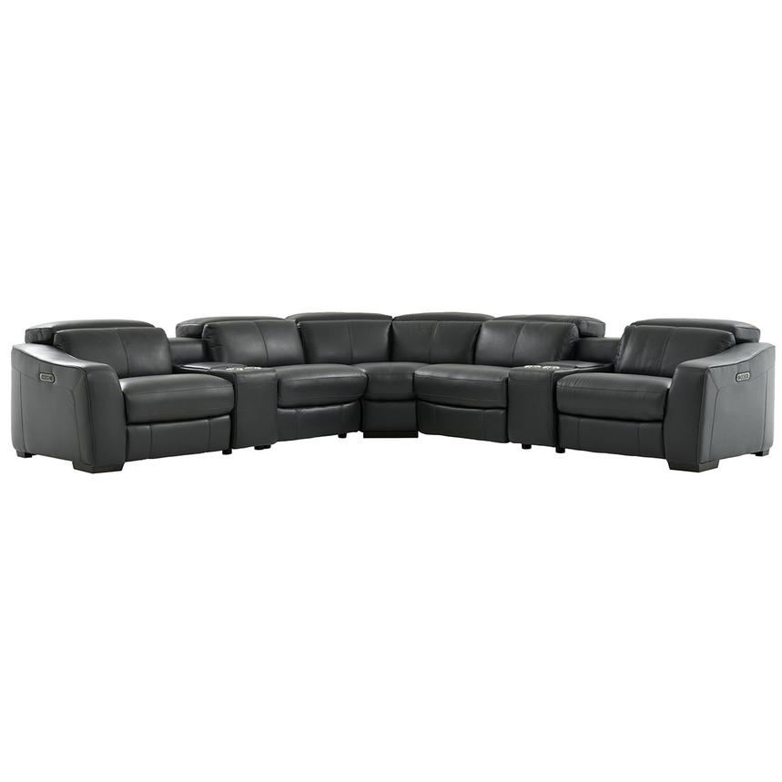 Jay Dark Gray Power Motion Leather Sofa w/Right & Left Recliners  main image, 1 of 7 images.