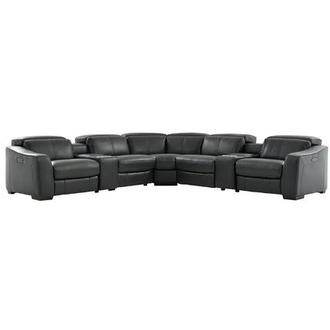 Jay Dark Gray Leather Power Reclining Sectional