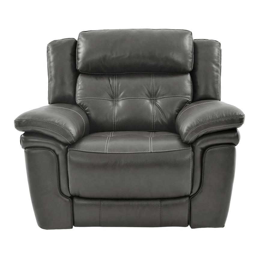 Stallion Gray Leather Power Recliner  main image, 1 of 9 images.