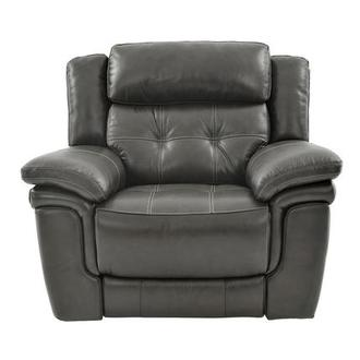 Stallion Gray Power Motion Leather Recliner