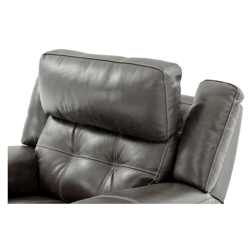 Stallion Gray Leather Power Recliner  alternate image, 6 of 9 images.