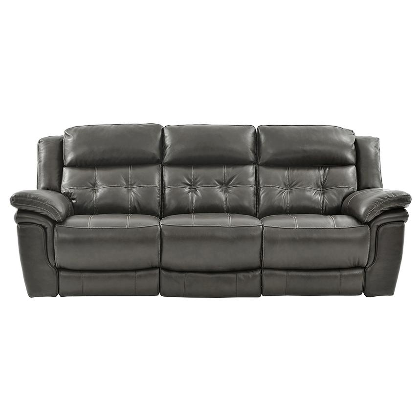 Stallion Gray Leather Power Reclining Sofa  main image, 1 of 10 images.