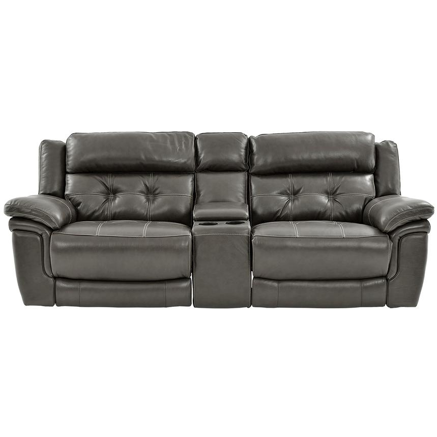 Stallion Gray Leather Power Reclining Sofa w/Console  main image, 1 of 10 images.