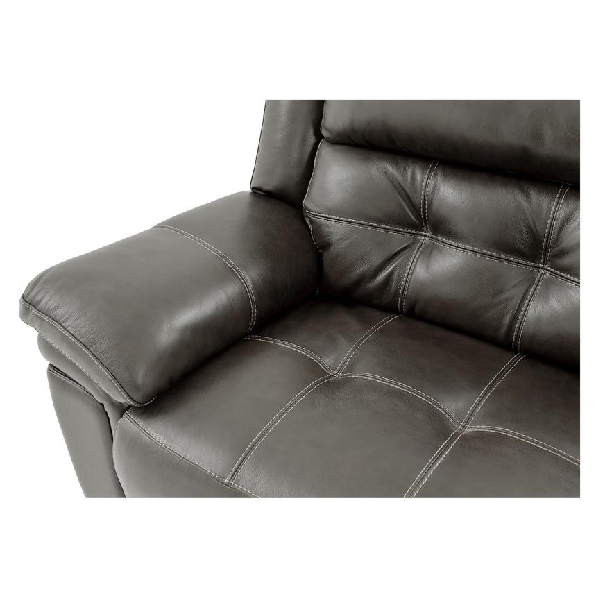 Stallion Gray Leather Power Reclining Sofa w/Console  alternate image, 6 of 10 images.
