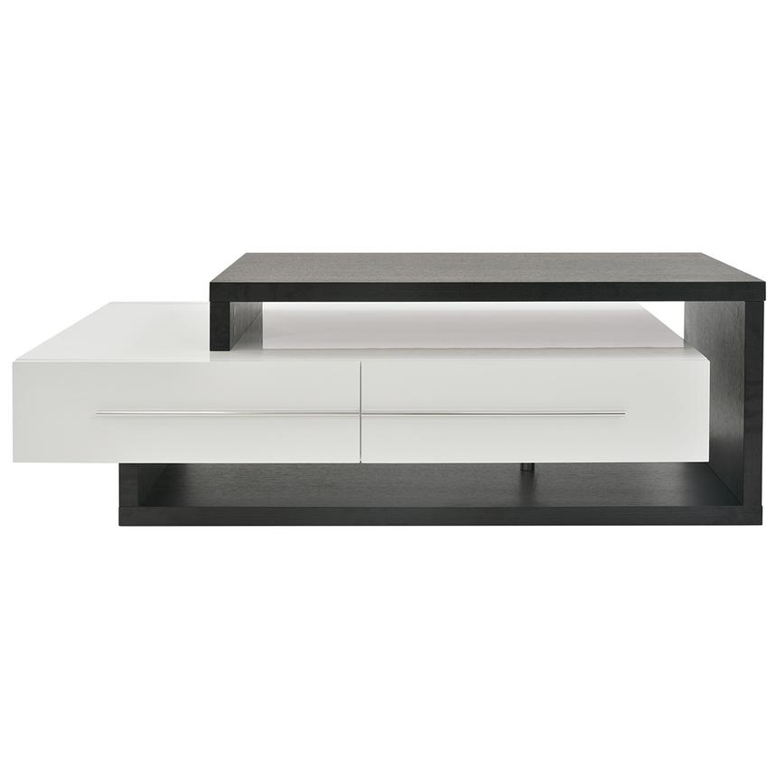Avanti Dark Oak White Coffee Table W Casters Main Image 1 Of 6