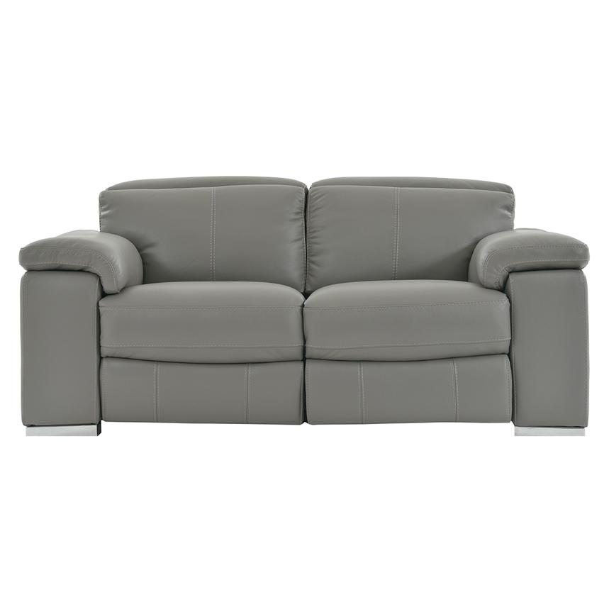 Charlie Gray Power Motion Leather Loveseat  main image, 1 of 7 images.