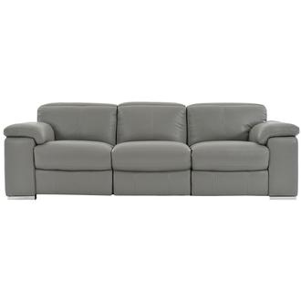 Charlie Gray Leather Power Reclining Sofa