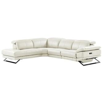 Toronto White Leather Power Reclining Sofa w/Left Chaise