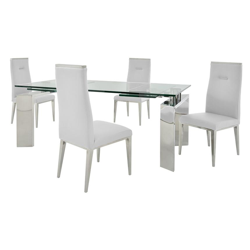 Melsar/Hyde White 5-Piece Formal Dining Set  main image, 1 of 15 images.