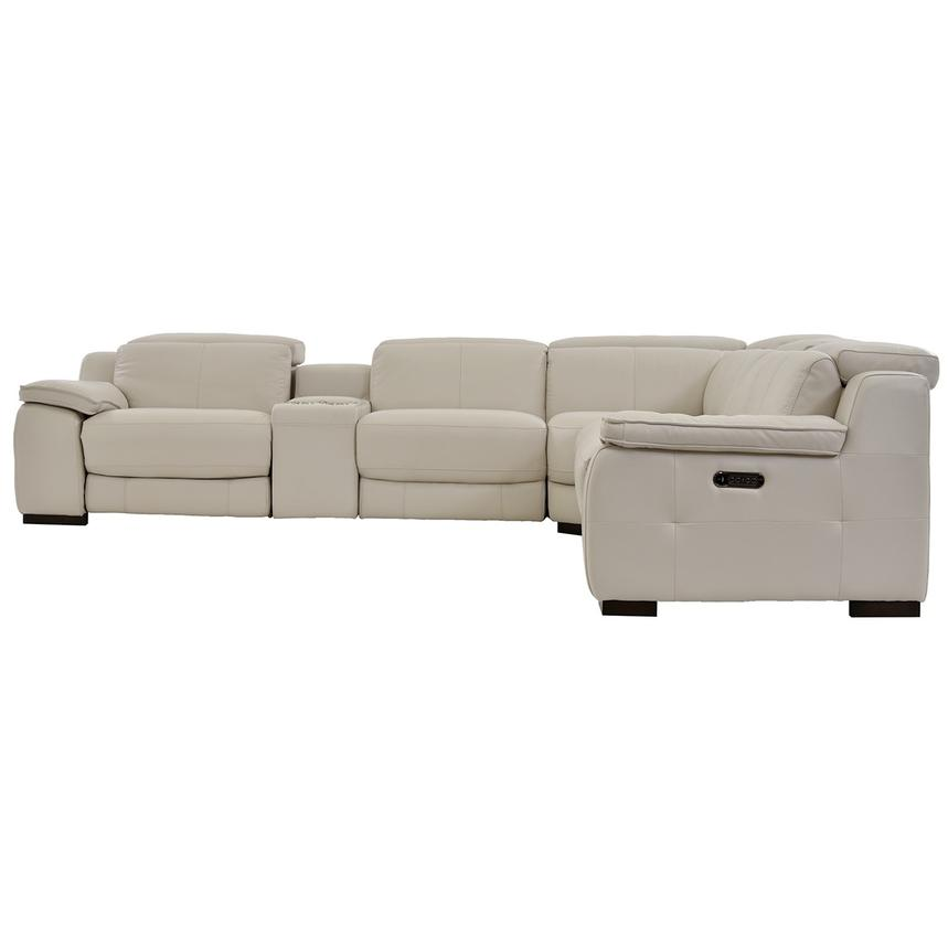 Gian Marco Cream Leather Power Reclining Sectional  alternate image, 4 of 9 images.
