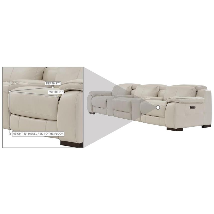 Gian Marco Cream Home Theater Leather Seating  alternate image, 10 of 10 images.