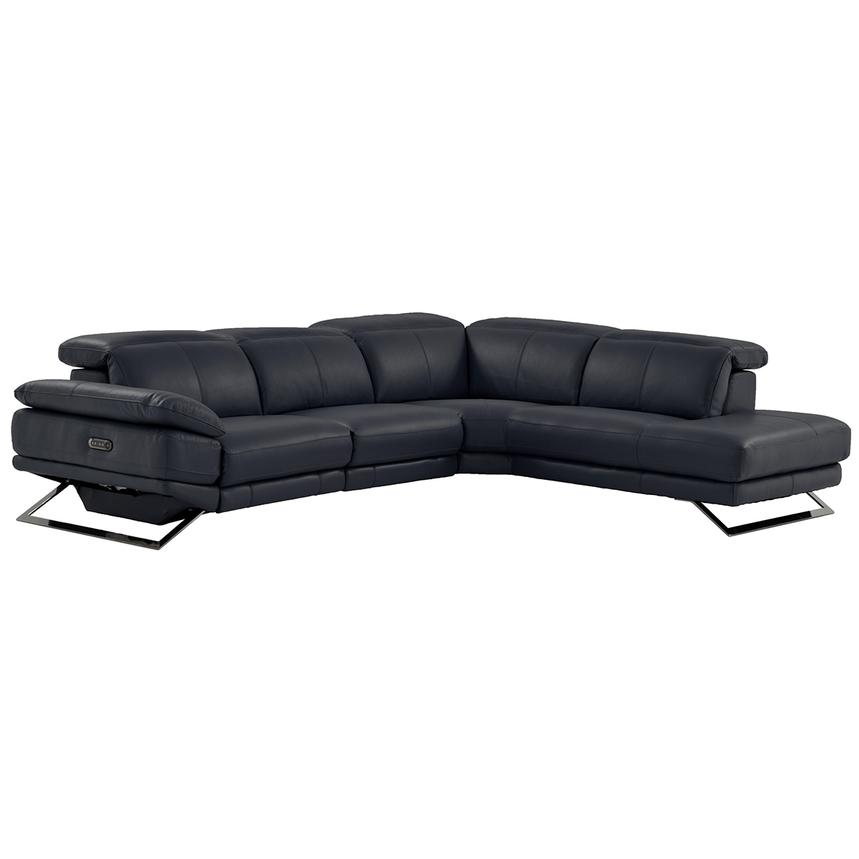 Toronto Dark Gray Power Motion Leather Sofa w/Right Chaise  main image, 1 of 9 images.
