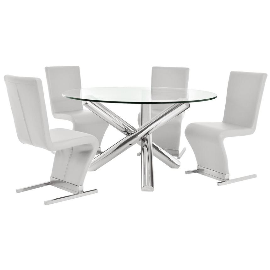 Star/Zoey White 5-Piece Formal Dining Set  main image, 1 of 9 images.