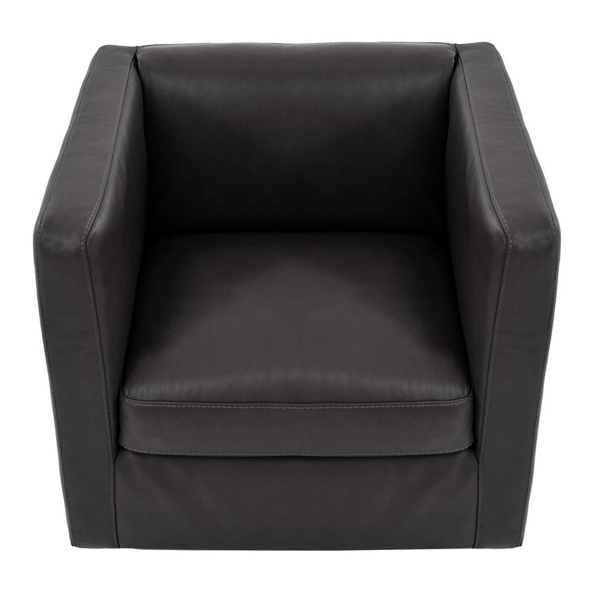 Cute Dark Gray Leather Swivel Chair  alternate image, 5 of 6 images.