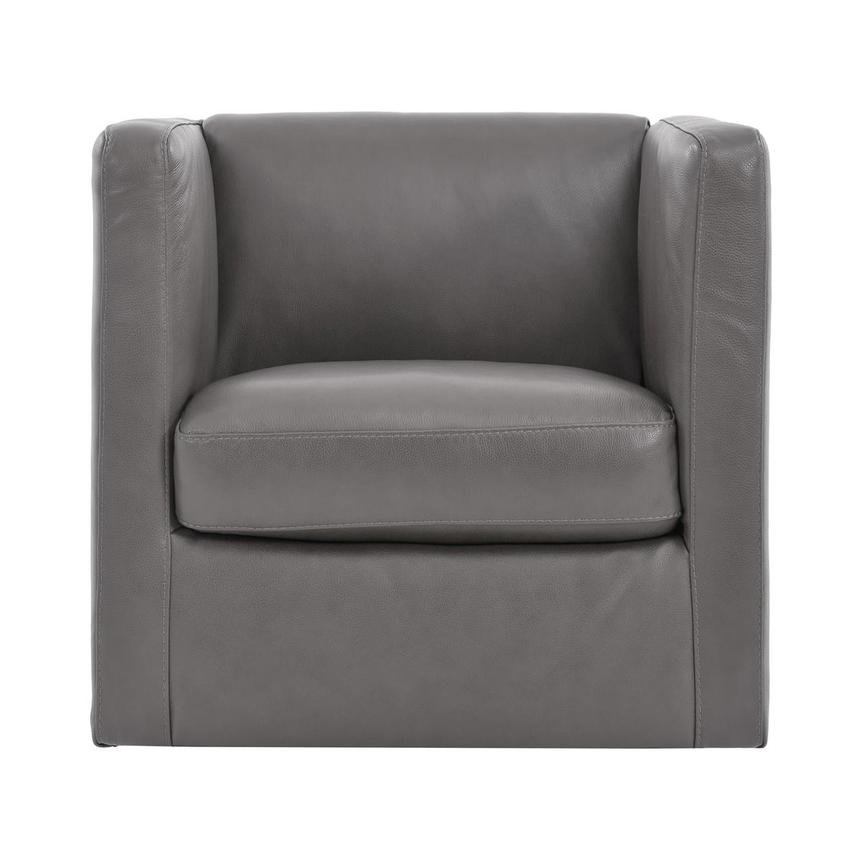 Cute Light Gray Leather Swivel Chair  main image, 1 of 7 images.